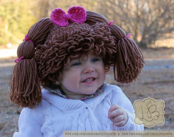 Cabbage Patch Knit Hat With Fringe And Pigtails Pattern : 97 best images about Crochet Wigs, Hats & Hair on Pinterest Halloween c...