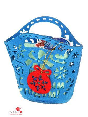Набор полотенец в корзинке Collorista Новый год, 30х30 см, 2 шт Joy, цвет голубой, зеленый