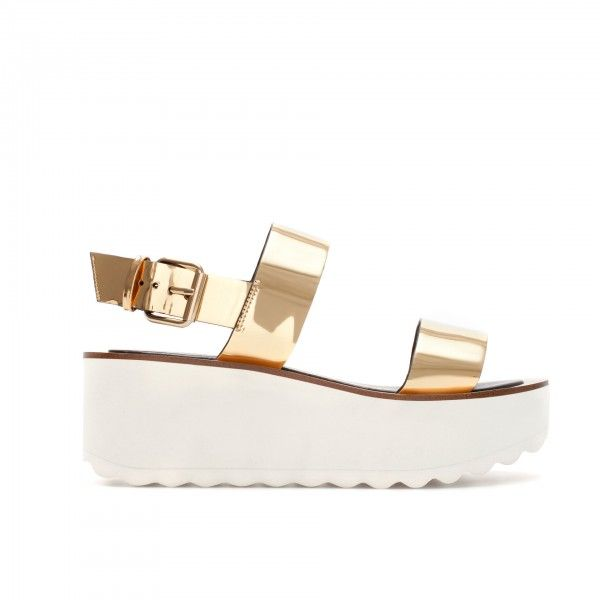 Zara Metallic Gold Slingback Sandal With White Platform