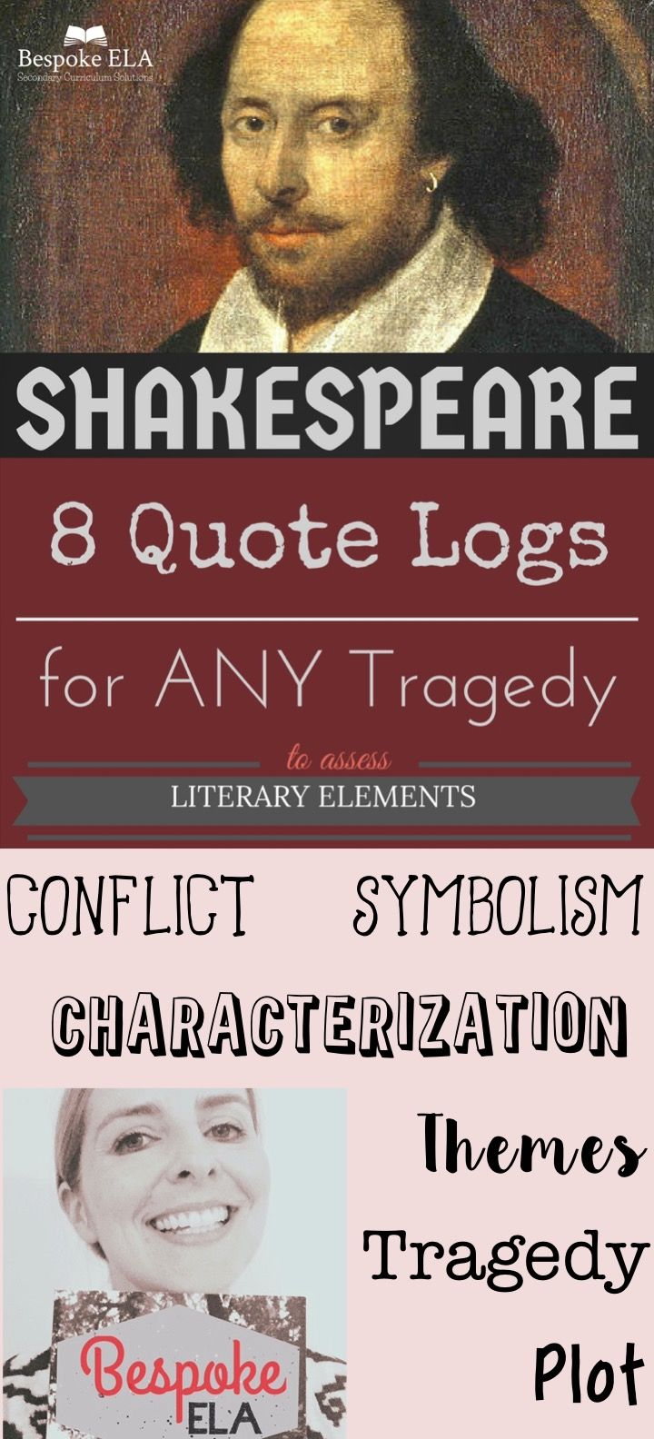 This product by Bespoke ELA contains 8 Quote Logs to help students track and assess the literary elements of any Shakespearean tragedy.  Check it out!