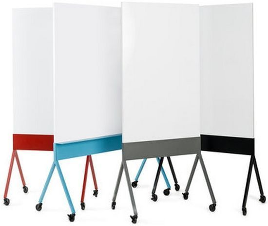 rolling whiteboard wood - colorful: