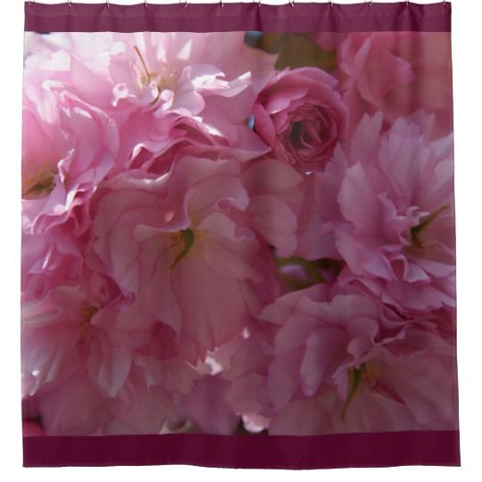 Spring Shower Curtain by www.zazzle.com/htgraphicdesigner* #zazzle #gift #giftidea #spring #blossom #pink #shower #curtain #bathroom