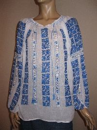 Romanian blouse /  bunches of blue flowers