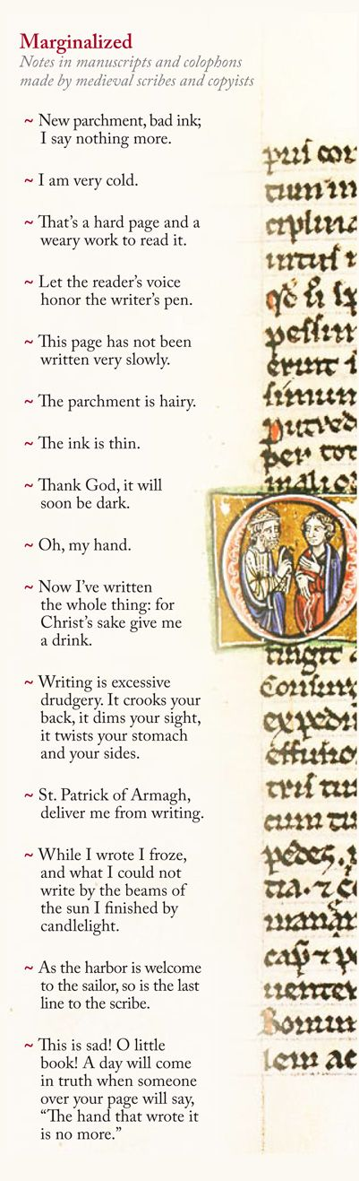 Complaints from medieval monks scribbled in Margins of Illuminated Manuscripts via @Maria Popova