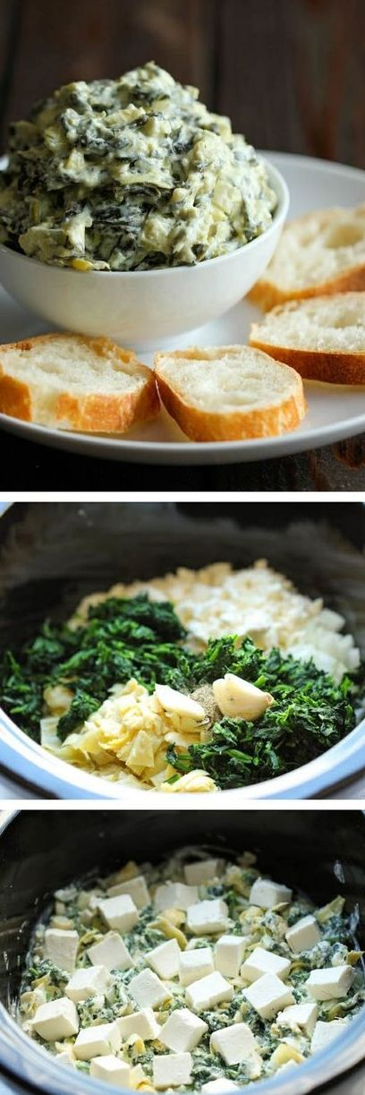 Simply throw everything in the crockpot for the easiest, most effortless spinach and artichoke dip