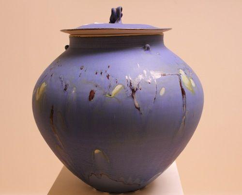 "Porcelain Jar by Artist Kayo O'Young 14"" x 12"" x 12"""
