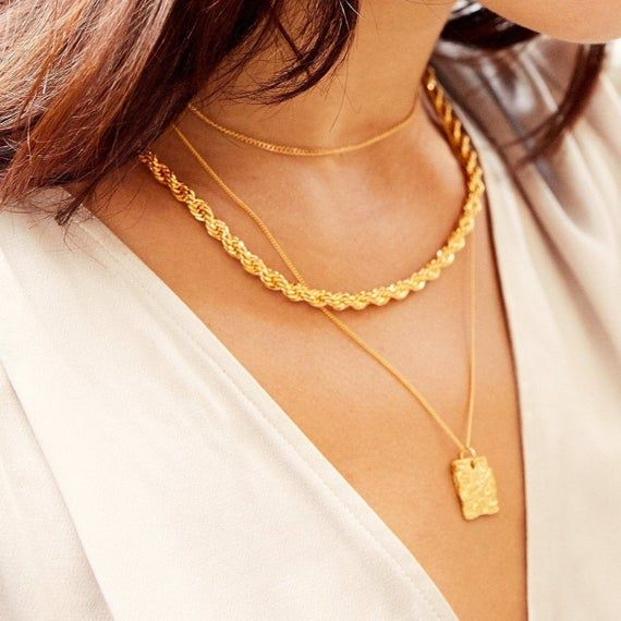 Ring necklace rope necklace rope statement necklace rope jewelry circle necklace gold ring necklace chic necklace thick necklace gift women