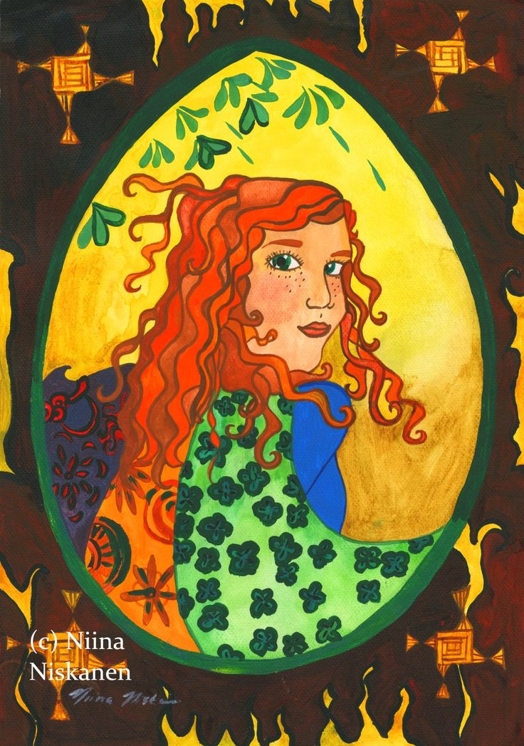 Goddess Brigid Original Painting Celtic Art Celtic Female Goddess Sun Goddess Ireland Irish Celtic Shamrock Fire Goddess by Niina Niskanen