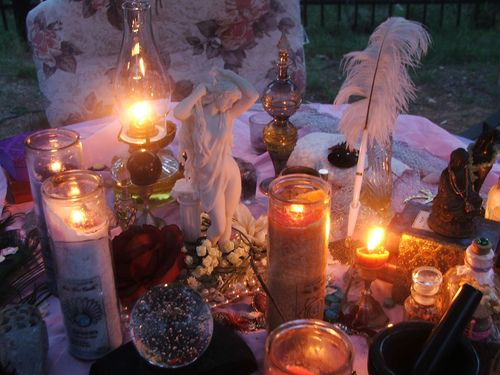 Outdoor AltarBoho Chic, Altered, Boho Gypsy, Witchy, Goddesses, Sacred Spaces, Candles Magic, Magick, Altars