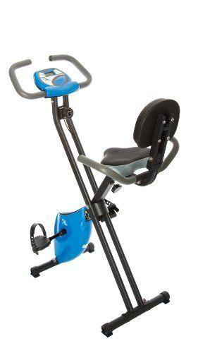 fit life folding magnetic resistance upright exercise bike with calorie counter neon blue for sale