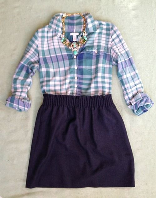 navy skirt / teal purple navy plaid oxford / aqua statement necklace