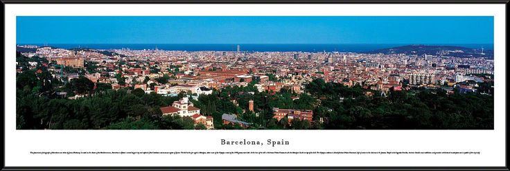 Barcelona Skyline Panoramic Picture Framed, Spain