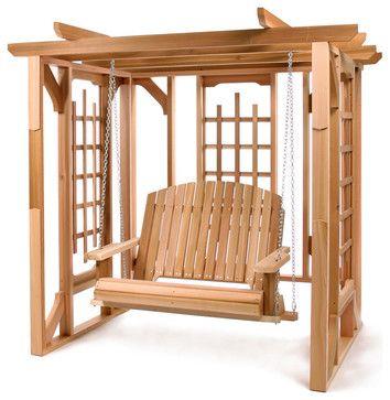 Cedar Garden Pergola Arbor - traditional - Gazebos - All Things Cedar Inc.  not sure if swing is included