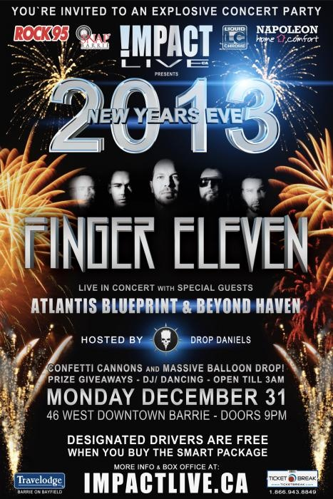 FINGER ELEVEN Headlines NEW YEARS EVE 2013 at 46 West Downtown Barrie (Formerly The Roxx)