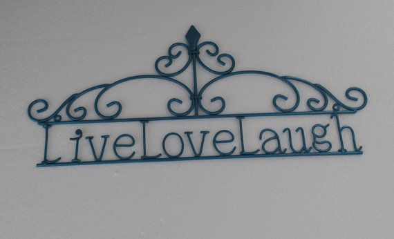 Metal Wall Decor For Bedroom : Turquoise blue live laugh love wall decor outdoor