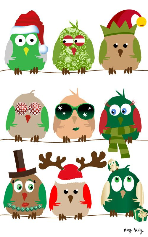 Christmas owls by Mary Birdy