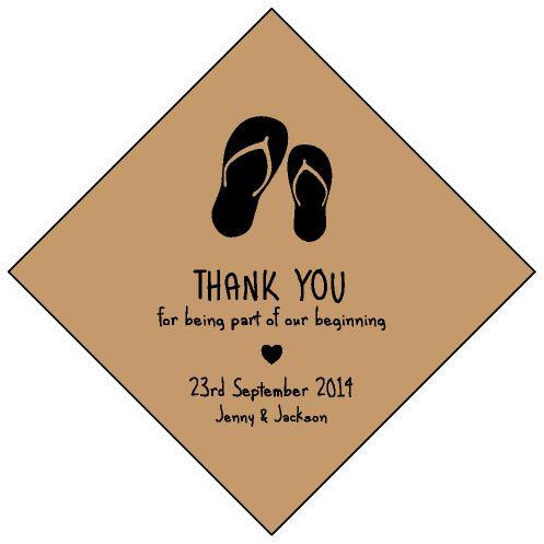 Kraft Flip Flop Diamond Wedding Personalized Tag / Sticker!!  #PersonalizedTag #Flipflop