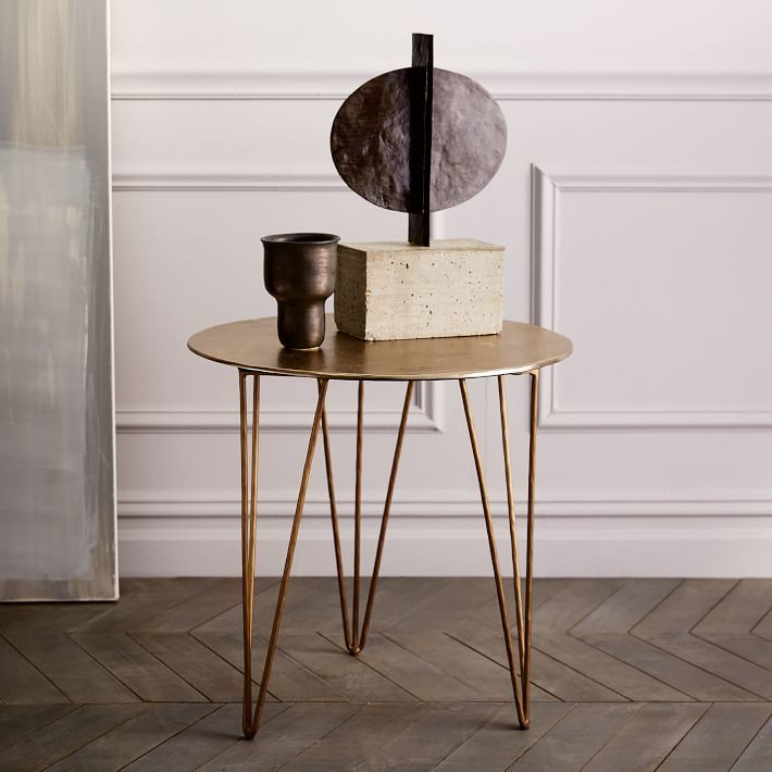 Brass Hairpin Side Table Design