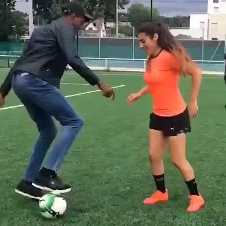 Girl got skills.. Football tricks