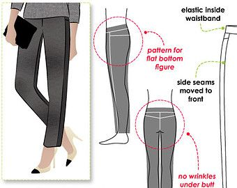 Yoga pant sewing pattern for women in sizes 10, 12 and 14. PDF pattern for instant download. See size chart in the Gallery to choose your correct size! Sizes 4 - 30 are available in our store.    Fabulous yoga pant with boot leg, elastic waist and back pocket.    *** 24 pattern tile pages ***    Pattern measurements based on size 10:  Leg opening = approx. 47 cm or 18 in  Inside leg length = 80 cm or 31 ½ in  Total crotch = 50 cm or 20 in    FABRIC SUGGESTION: This pattern is made for a…