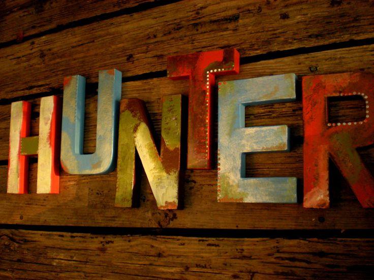 Boy Name Letters - Rustic Wall Letters - Nursery Letters - Vintage Kids Room by HappyMooseGardenArt on Etsy