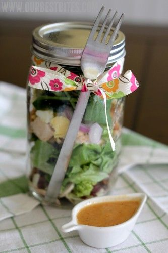 Smoked Paprika Vinaigrette + Salad in a jar (and I love the presentation... fork wrapped around the jar- Genius!)
