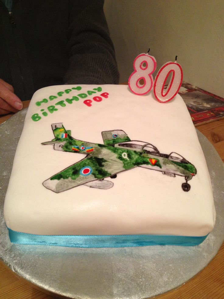 80th Birthday Cake for Pop, featuring a hand painted F-86 Sabre aeroplane!
