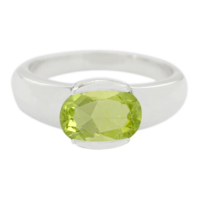 Sterling Silver Green Peridot Real Gemstones Ring Jewelry Accessories top Selling Items Gift for New Years Day Stacking Rings Real Gemstones Round cabochon Peridot Ring