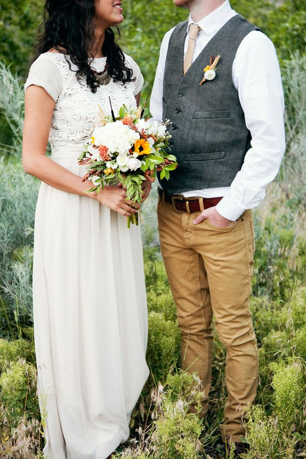 Country Outdoor Wedding Attire For The Groom Boho Gown By
