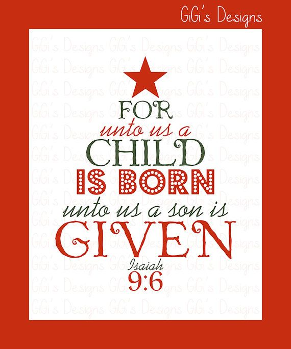 CHRISTMAS SCRIPTURE PRINT, Scripture For unto us a child is born, Christmas Wall art, Christmas ...