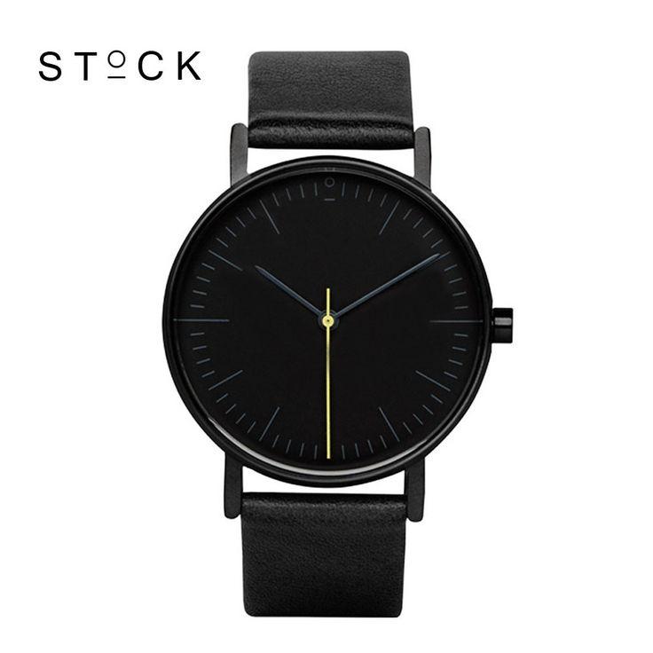 STOCK Quartz Watch Men Top Brand Black Leather Watches Relojes Hombre 2016 Horloge Orologio Uomo Montre Homme clock S001K