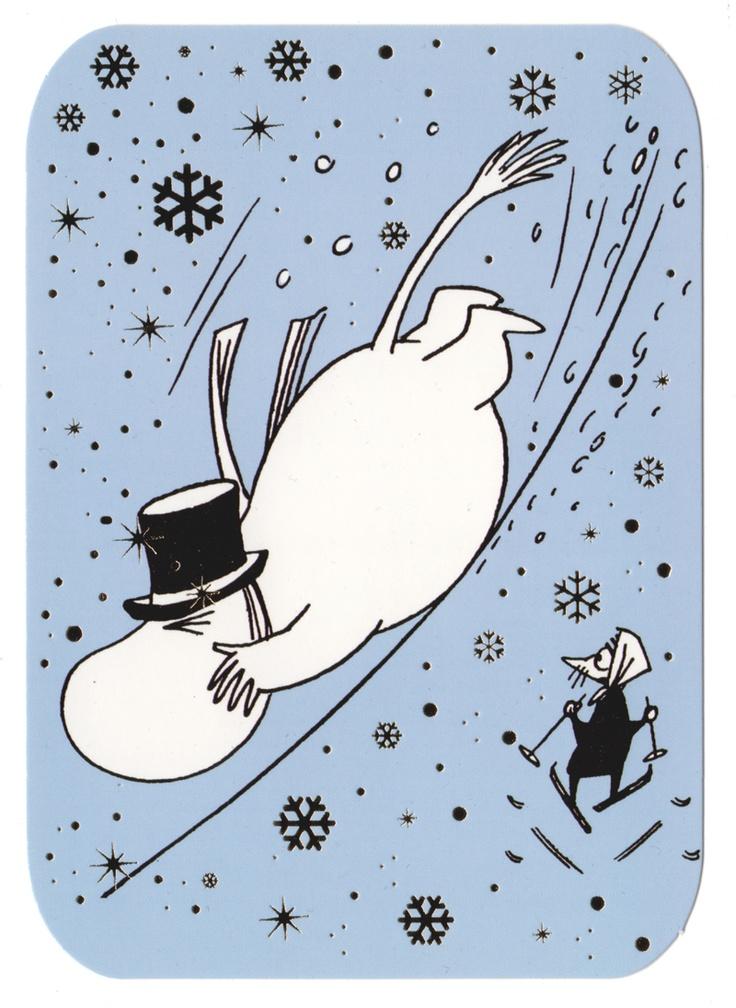 Moominpappa skiing