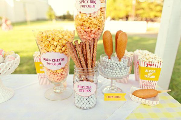 Southern weddings, Southern wedding ideas, state fair wedding snack bar, inspired dessert bars