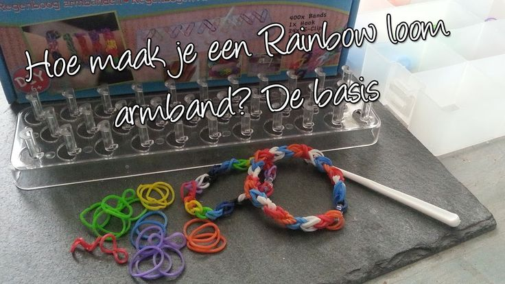 Hoe maak je een basis Regenboog loom armband? Diy. Met 1000 abbonees giv...