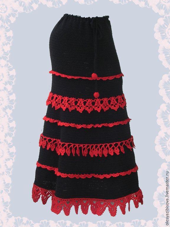 """Купить Вязаная юбка """"Яркая ягодка"""" - темно-серый, однотонный, юбка, вязаная юбка"""