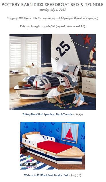 Copy Cat Chic Find Pottery Barn Kids Speedboat Bed Trundle Vs Walmart S Kidkraft Boat Toddler Bed Boys Room Nautical Toddler Bed Toddler Boys Room