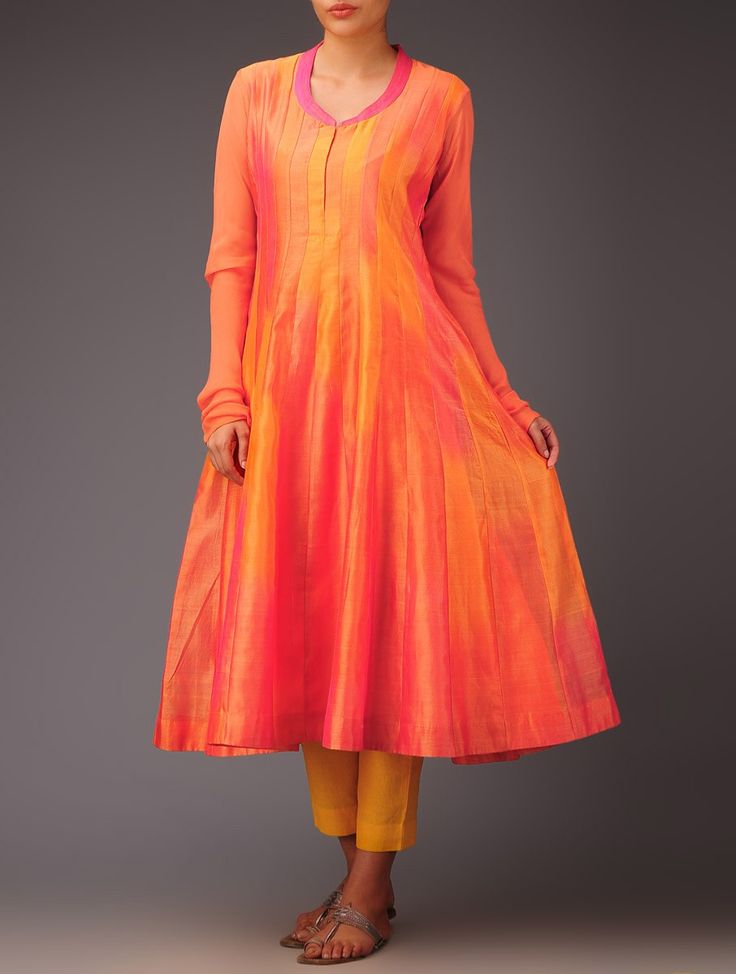 .Pink and Orange Silk Chanderi Kalidaar kurta! Visit www.faaya.in and get this made in your measurements!