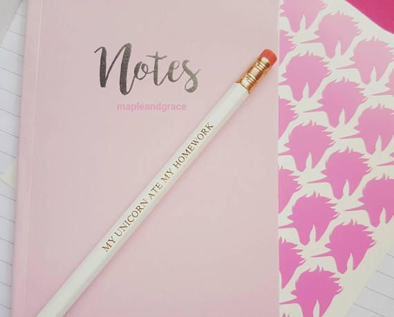 How cool are our School supplies 'My unicorn ate my homework' Quote pencils/