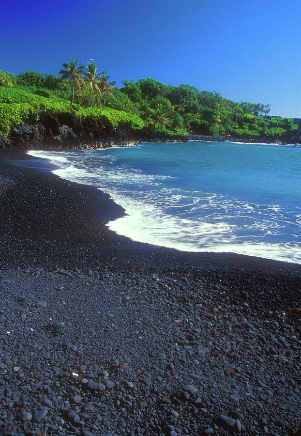 Black sand beach hana maui hawaii print by john burk Black sand beach hawaii