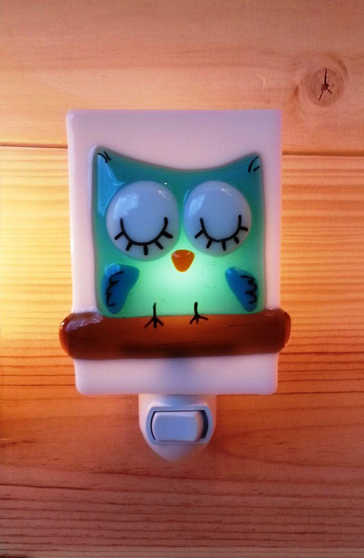 Nightlight owl, fused glass, turquoise, baby, room decoration, nursery, shower gift, kid room, children. $32.00, via Etsy.