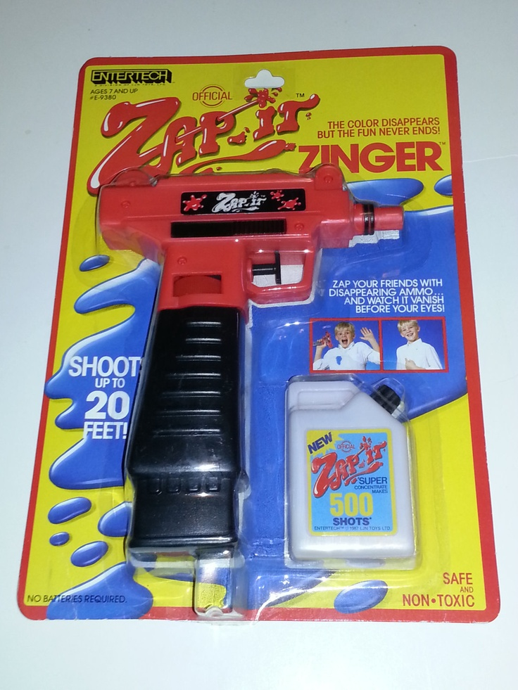 Classic 80s Toys : Entertech zap it zinger disappearing ink water gun