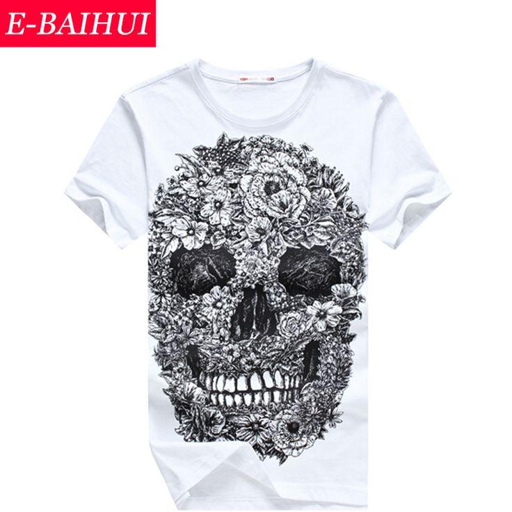 Е-baihui мужские футболки мода череп 3D хип-хоп свободного покроя фитнес скейт добычу на Алиэкспресс русском языке рублях