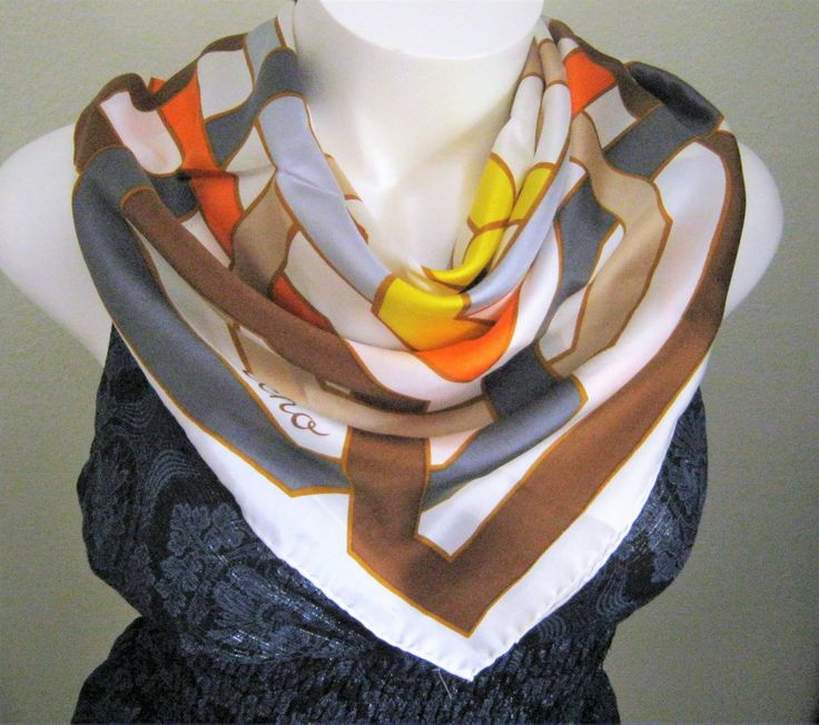 """Geometric Echo Scarf*Celtic Knot*60's*70's*Mod Fashion Scarf*32"""" Square*White*Orange*Yellow*Gray*Brown*Slate Blue*Hand Rolled Hem*Silk by CedarCoveRetro on Etsy"""