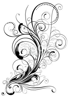 line art drawings of swirls | Swirl floral design Royalty Free Stock Vector Art Illustration