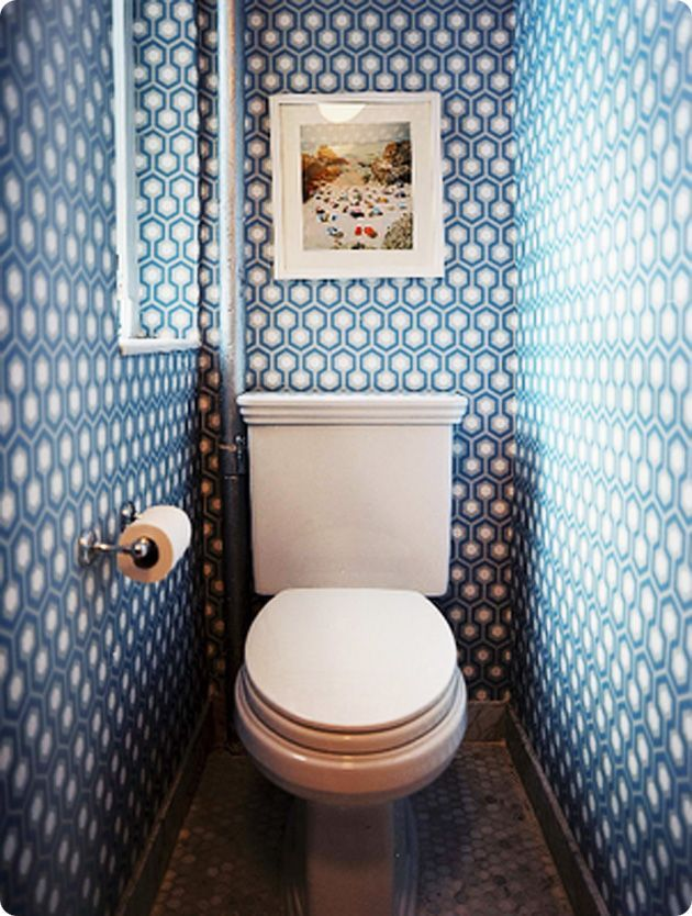 What to do with a tiny bathroom? Wallpaper it within an inch of its life.