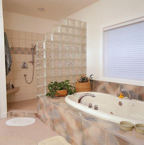 Small Bathroom Doorless Shower Ideas: 22 Best Images About Glass Block Shower On Pinterest