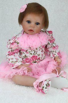 Nicery Flower Vestito Reborn Bambino Bambola Morbido Silicone Vinile 22inch 55 Centimetri Magnetica Bocca Realistica Ragazzo Ragazza Giocattolo Rosa Baby Doll A3IT