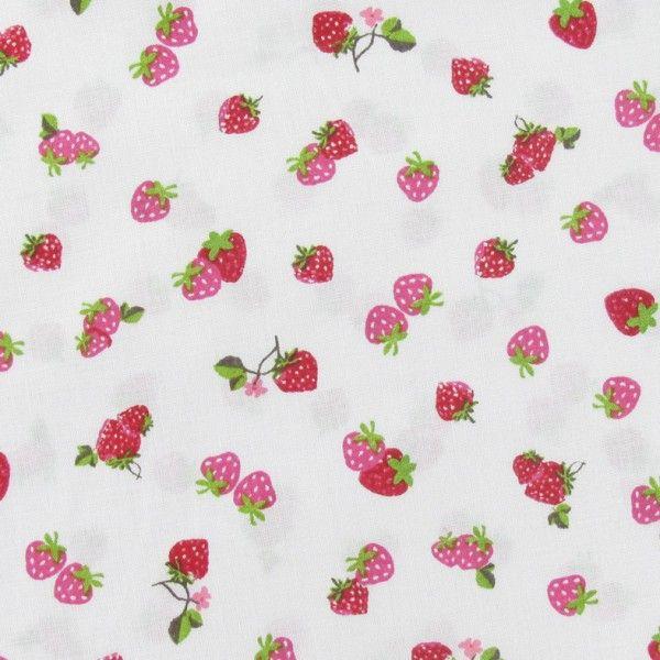 Tissu coton petite fraise blanc x 10cm