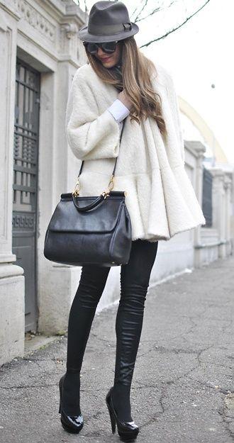 hat, sunglasses, coat, leather, pant, heels, fashion, black, fall, winter