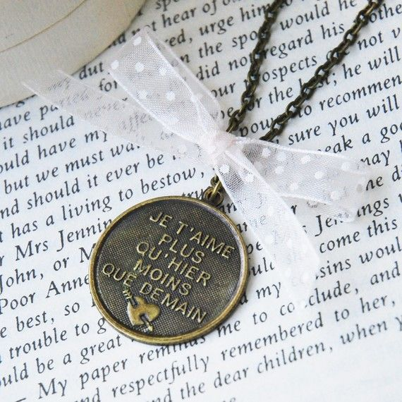 I WANT I WANT!!!!! I love you more than yesterday ( French Love Poem ) Bronze Necklace via Etsy
